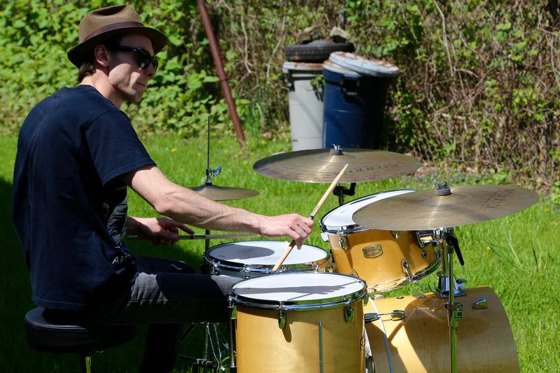 Drummer David Lyttle plays a medley of songs from musician Art Blakey at the site of his childhood home in the Hill District.