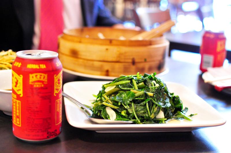 Chinese water kress sits next to a popular Chinese herbal iced tea.