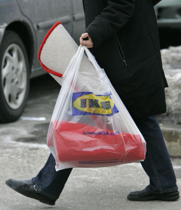 A customer totes a shopping bag outside an Ikea in Conshohocken, PA., on Tuesday, Feb. 20, 2017.