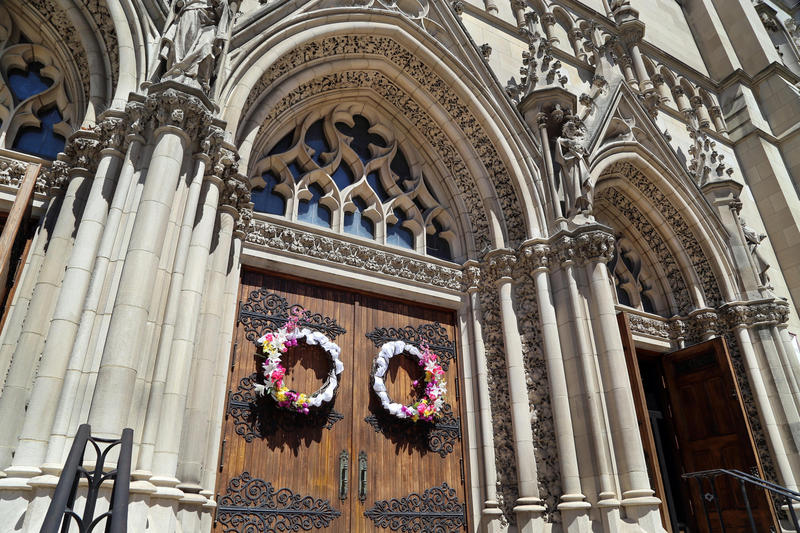 Flowery wreaths adorn the entrance to St. Paul's Cathedral two days after Easter services. The historic church was host to more than 2,000 mourners at the funeral mass of Steelers' chairman Dan Rooney on Tuesday, April 18, 2017.