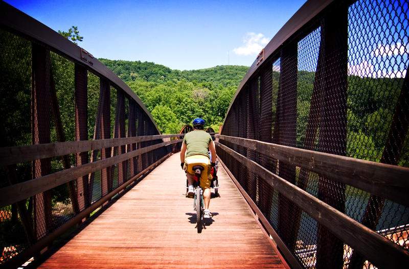 Cyclists leave Ohiopyle on the Great Allegheny Passage, which now forms part of U.S. Bicycle Route 50. It is Pennsylvania's first nationally designated bike route.