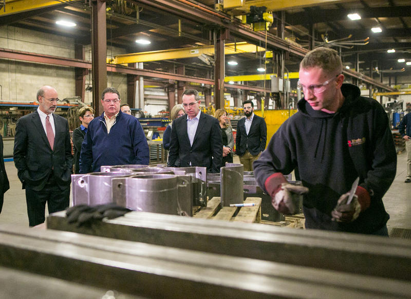 Gov. Tom Wolf visits a waste gas fabricating company in Fairless Hills, Pa., on Jan. 15, 2016. Manufacturing jobs in Pennsylvania are at their lowest number in nearly 30 years.