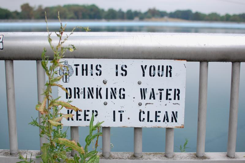 A sign at the Highland Park reservoir in Pittsburgh.