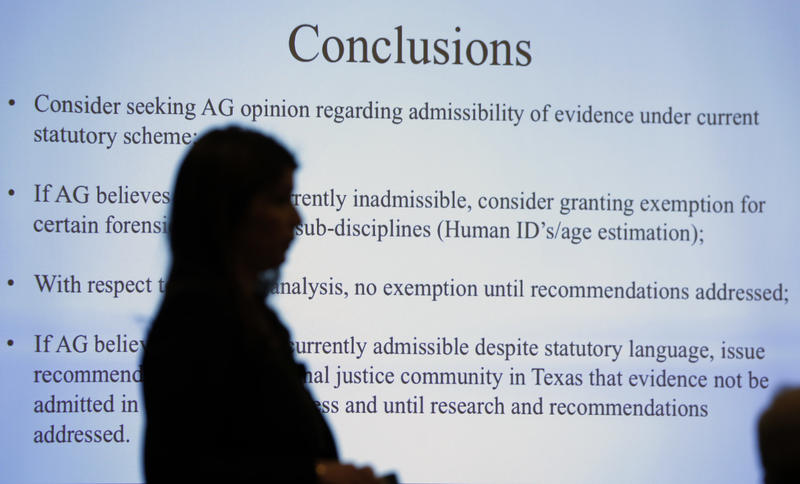 Lynn Garcia presents at a Texas Forensic Science Commission meeting to consider recommendations against using bite mark analysis in criminal cases on Feb. 11, 2016, in Austin. The commission ruled bite marks be inadmissable pending further research.