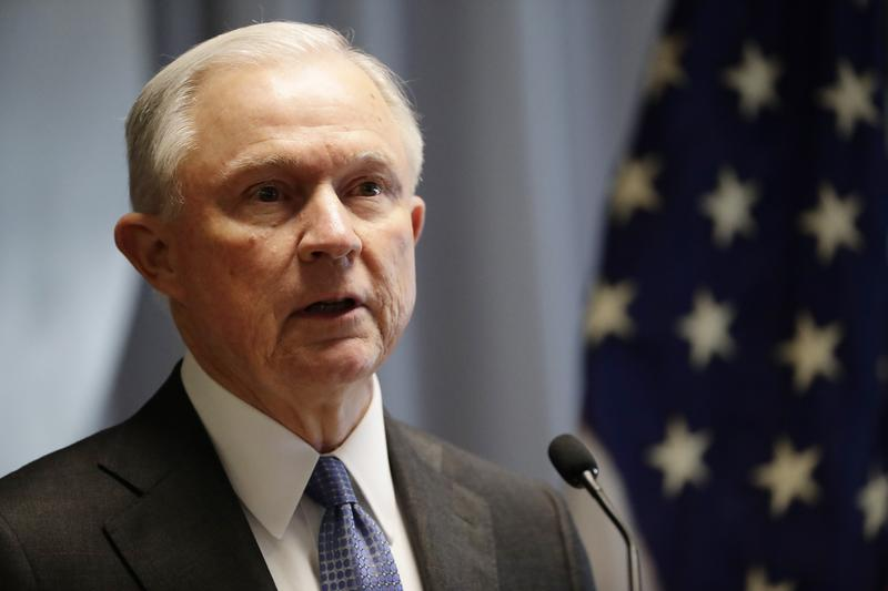 Attorney General Jeff Sessions speaks to members of law enforcement Friday, April 28, 2017.