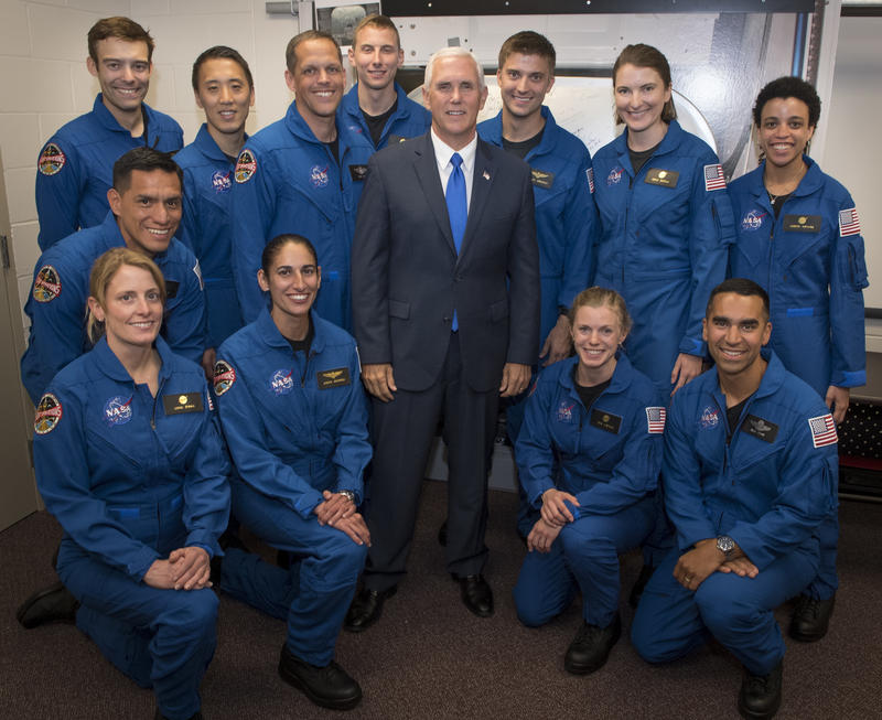 Vice President Mike Pence poses for a group photograph with NASA's 12 new astronaut candidates, Wednesday, June 7, 2017, at NASA's Johnson Space Center in Houston, Texas.