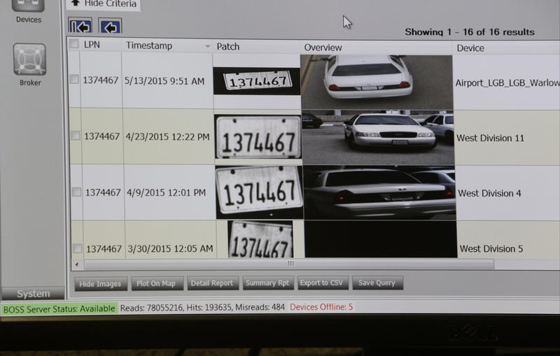 A computer terminal displays a single vehicle's license plate number captured in multiple locations by Automated License Plate Reader cameras in Long Beach, Calif. Police nationwide have bought into expansive databases, many run by private companies.