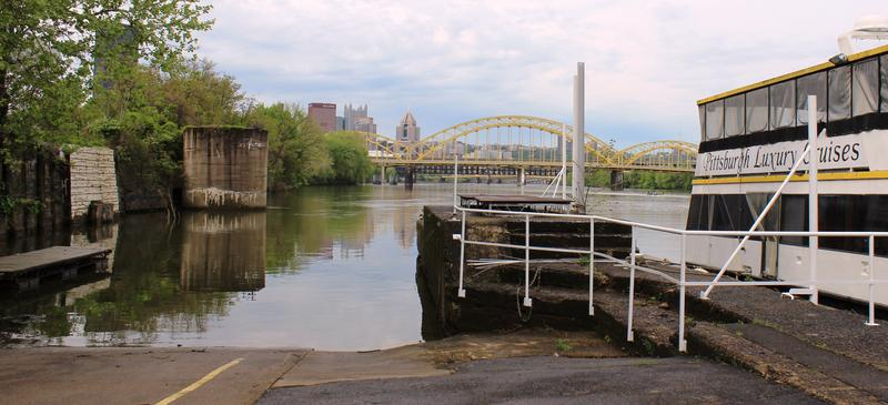 Allegheny River Lock and Dam No.1 was built in the late 1800s to help make river commerce easier in the Pittsburgh region. Now, it's been mostly dismantled and is the home of Lockwall One Marina near the Cork Factory Lofts.