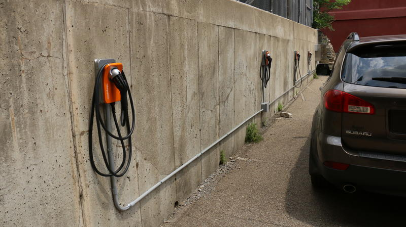Four electric vehicle charging stations have been installed in a city lot near the Jail.  The city has ordered four electric cars as part of a PA DEP grant.