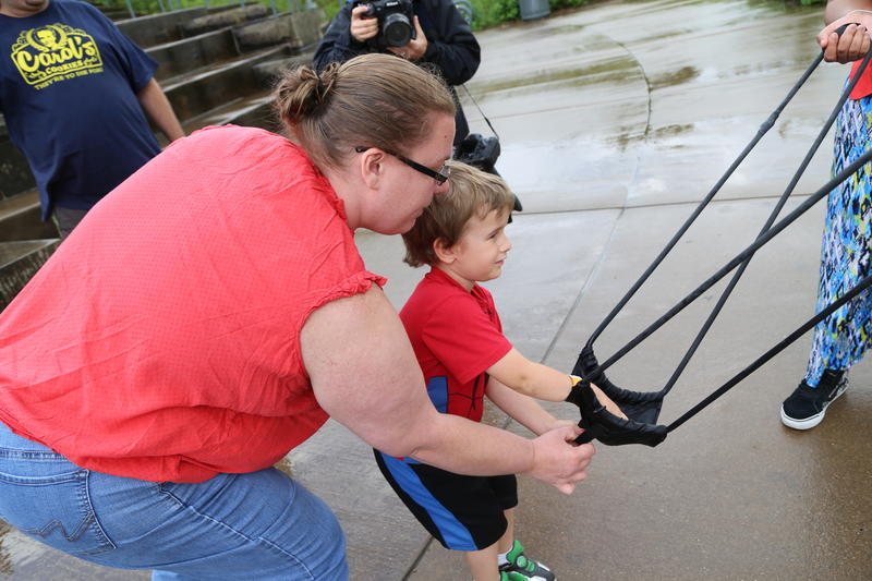 Zachary Schmidt and his mother Joyce participate in their first snowball launch since 2015.