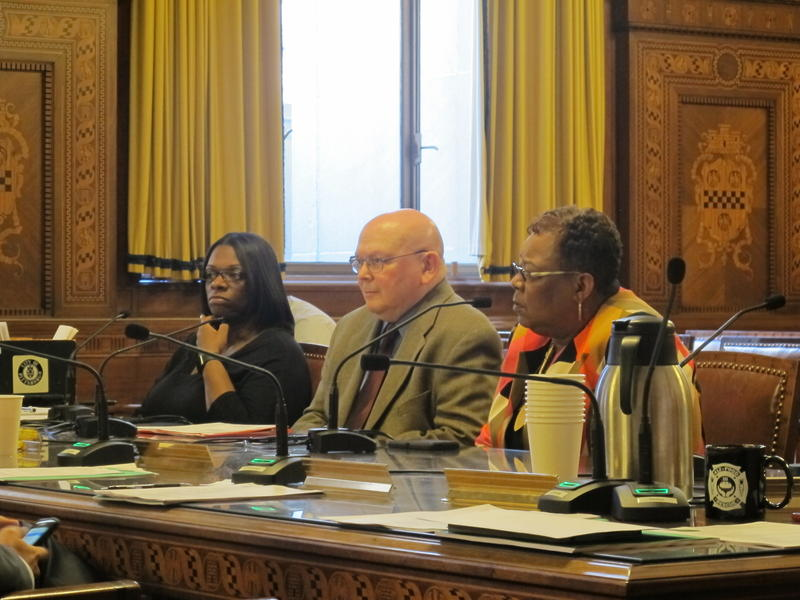 PWSA Board Members Paul Leger (center) and Margaret Lanier (Right) speak to City Council, Wednesday, June 28, 2017.