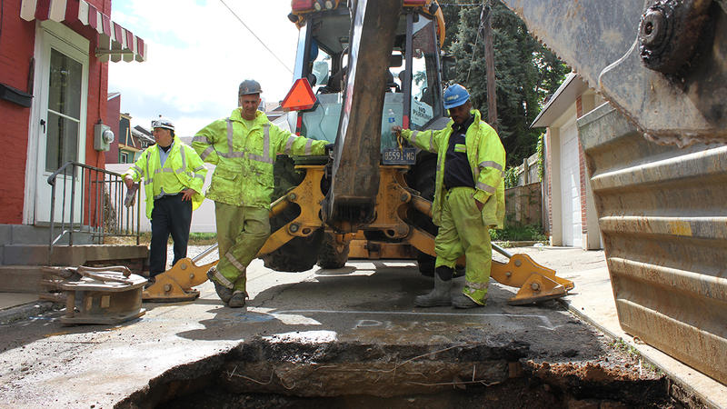 More than 30 percent of Pennsylvania's water systems aren't as resilient as they need to be. Here a Pittsburgh Water and Sewer Authority (PWSA) crew fixes a leaking water main. From left, foreman Mike Gigliotti, Anthony Colapietro, and Eugene Tyler.