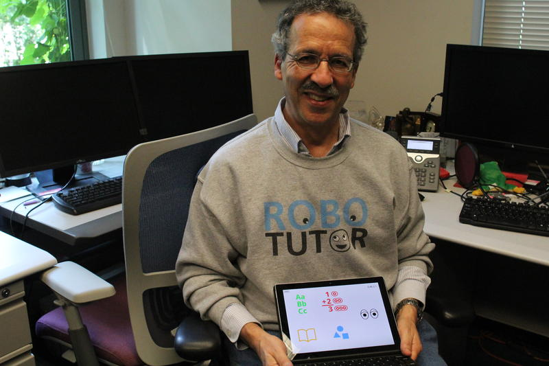 Robo Tutor Team Leader Jack Mostow displays the application at his Carnegie Mellon University office.