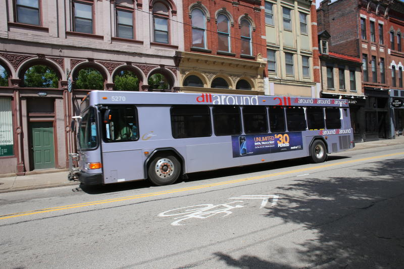 A Port Authority bus rolls down East Carson Street in the South Side. Nearly half of PAT's riders would be served by the selected BRT route.