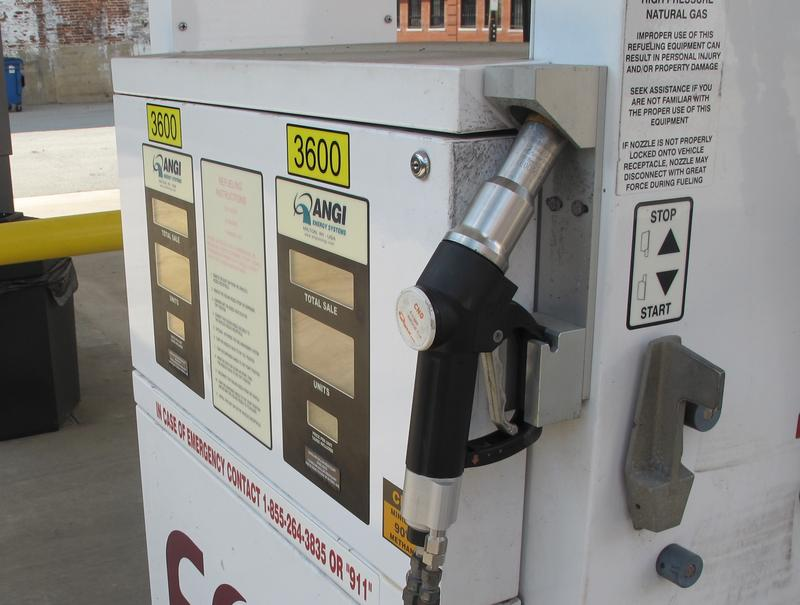 A CNG pump stands ready in the Strip District.  The EQT-run station is one of two CNG stations in the city that are open to the public.