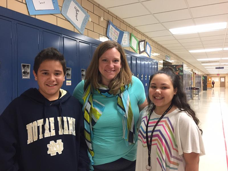 Sixth-grader Isiah Martinez, Vice Principal Jessica Webster, and sixth-grader Kylie Kennedy at Hopewell Memorial Junior High School.