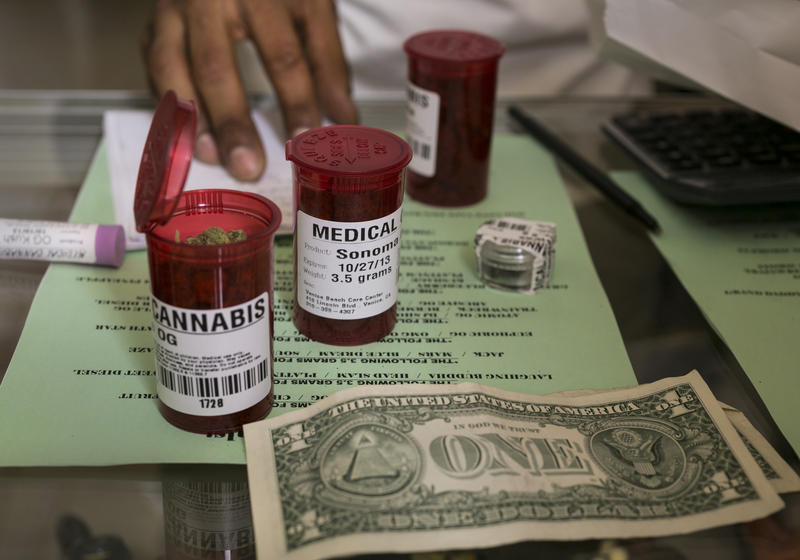 Medical marijuana prescriptions are filled at a dispensary in Venice, Calif. It may be legal for vendors to grow medical marijuana in Pennsylvania, but federal laws prohibit them from using a bank account.