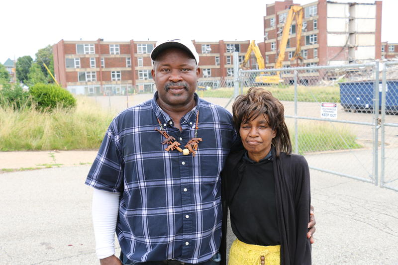 O'Harold Hoots and Karen Edmonds were two of about thirty protesters gathered to oppose demolition of the remaining building at the Penn Plaza apartments site in East Liberty.