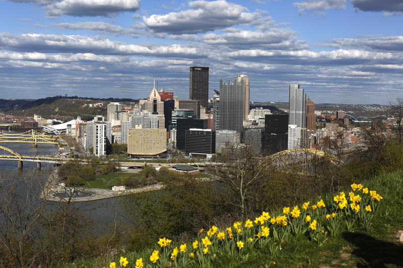 Daffodils grow on Mount Washington overlooking the skyline of downtown Pittsburgh, at the confluence of the Monongahela River, right, Allegheny River, left, to form the Ohio River, Sunday, April 26, 2015.