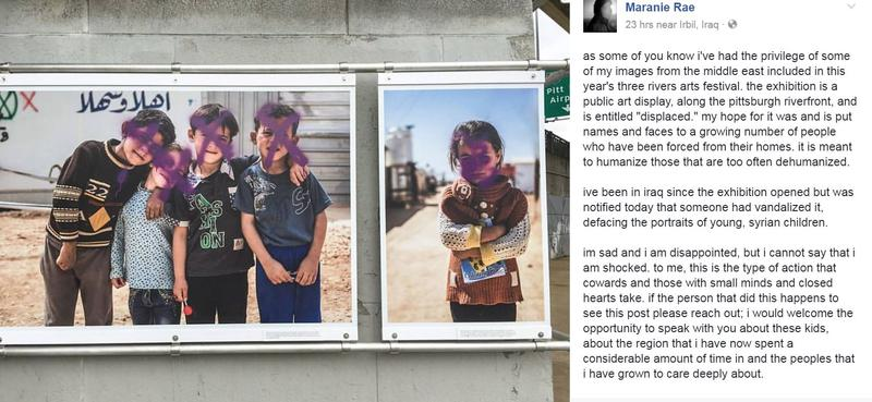 Pittsburgh photojournalist Maranie Rae posted Wednesday, June 7, 2017, that photos of refugee children were defaced at the Three Rivers Arts Festival, which invites local artists to participate in juried shows and an open market.