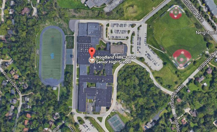 A satellite view of Woodland Hills Junior Senior High School in Pittsburgh.
