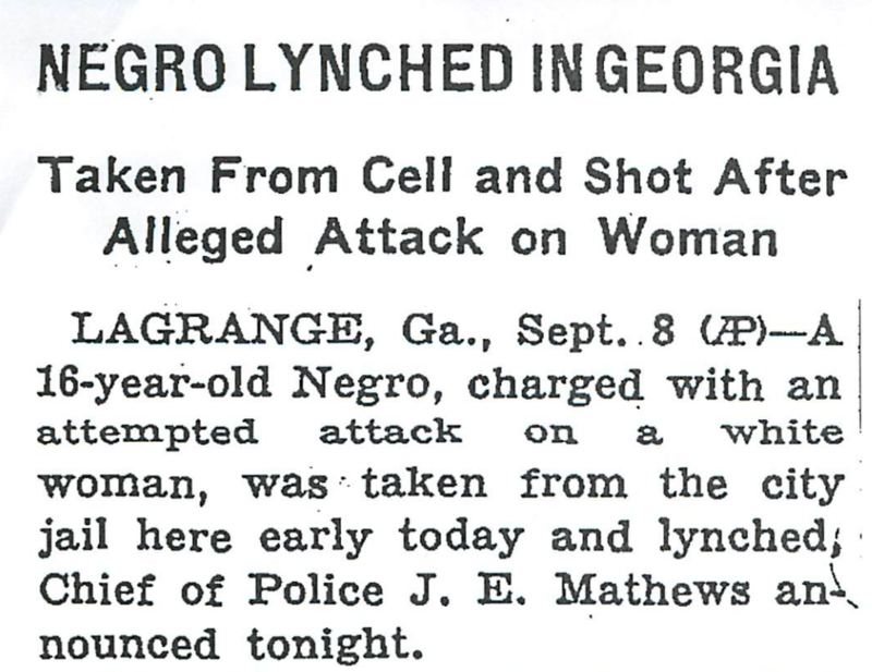Headline in the New York Times on on Sept. 9, 1940 about the lynching of Austin Callaway in LeGrange, Georgia.