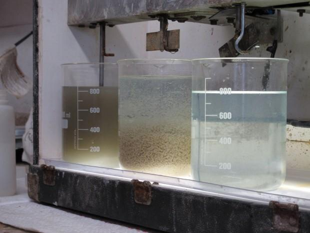 The before, during and after of the fracking fluid recycling process.