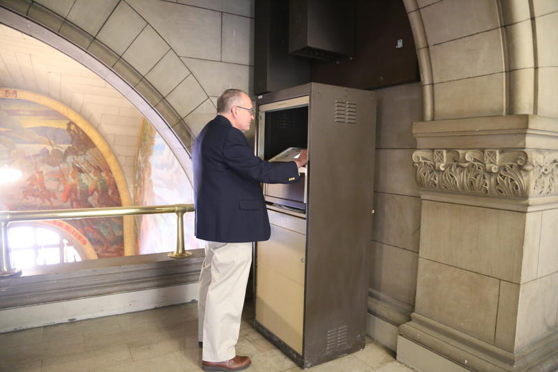 "Allegheny County Director of Facilities Management Jim Reardon programs songs into the carillon system on the courthouse's second floor. ""Almost like an iPlayer,"" he said, describing the system, new in 2013."