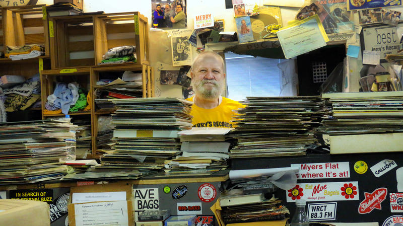 Jerry Weber sits on his usual perch behind the counter at Jerry's Records on Tuesday, July 25, 2017. Weber has operated Jerry's Records out its Squirrel Hill location since the early '90s. He estimates there are as many as 500,000 records in the store.