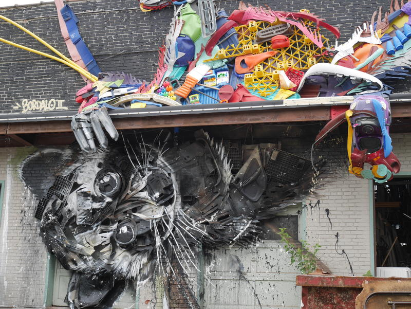 Portuguese street artist Bordalo II made this raccoon mural using found trash, such as tires and old appliances.