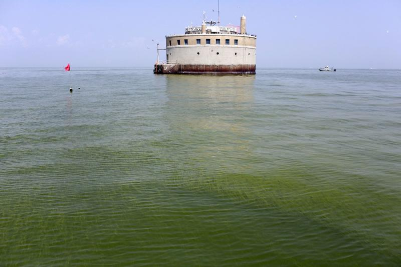 In this Aug. 3, 2014 file photo, the water intake for the city of Toledo, Ohio, is surrounded by an algae bloom on Lake Erie, about 2.5 miles off the shore of Curtice, Ohio.