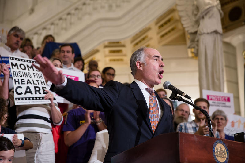 Democratic Sen. Bob Casey speaks at a health care rally at the capitol in Harrisburg, Pa., on June 23, 2017.