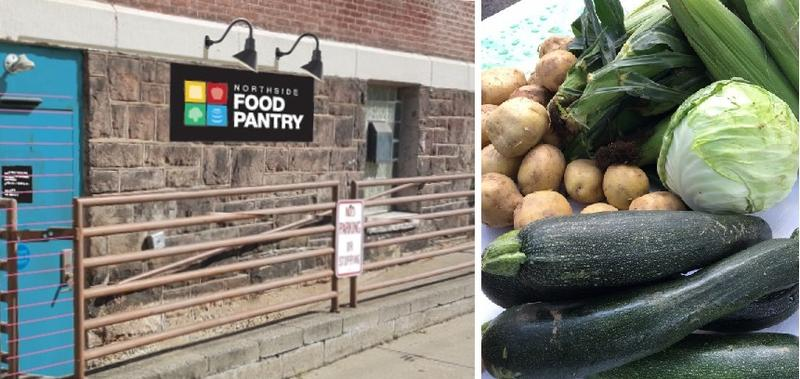 An artist rendering showing what the new Northside Food Pantry sign will look like (left) and fresh produce offered at the pantry. The Food Pantry Advisors try to keep the shelves stocked with consistent items.