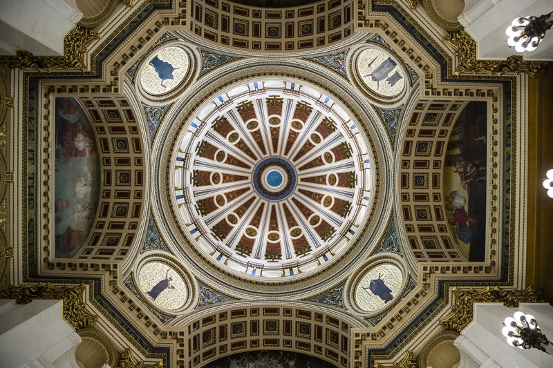 A decorative ceiling in the Capitol building in Harrisburg, Pa.