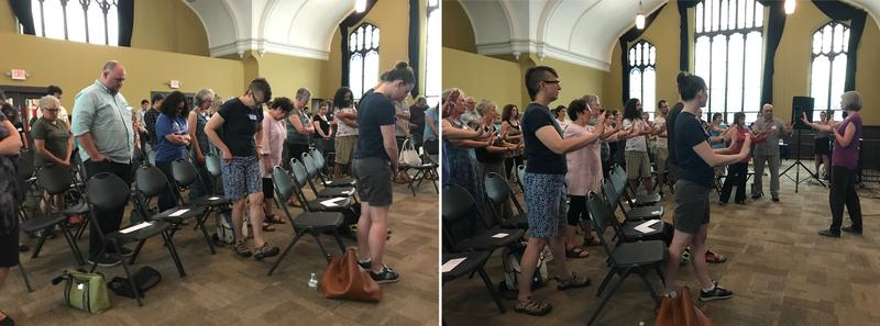 "When telling a bully to back off, confidence is key, said certified self-defense instructor Mona MacDonald. She asked attendees to model a lack of confidence (left) and then to stand up straight and put out their hands in a ""whoa, whoa, whoa,"" gesture."