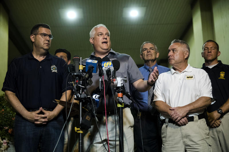 Matthew Weintraub, district attorney for Bucks County, Pa., speaks with members of the media in New Hope, Pa., Thursday, July 13, 2017.