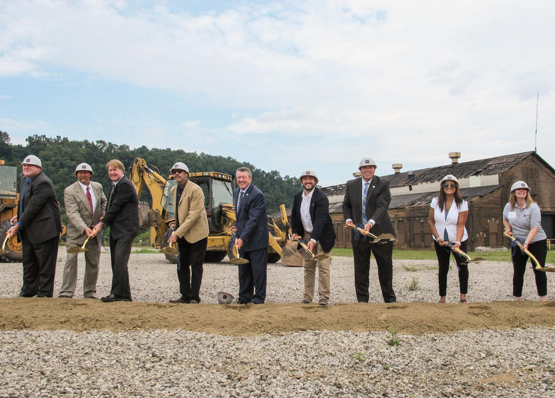 Local political leaders, parents and PurePenn employees participate in a ceremonial groundbreaking in McKeesport on Thursday, July 27, 2017.