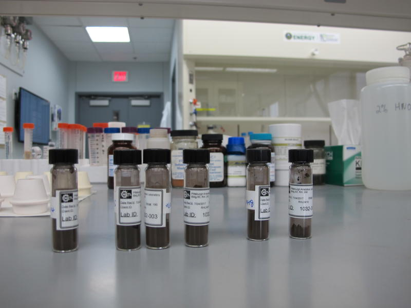 Samples of coal and coal byproducts are ground into a powder before being analyzed for rare earth elements.