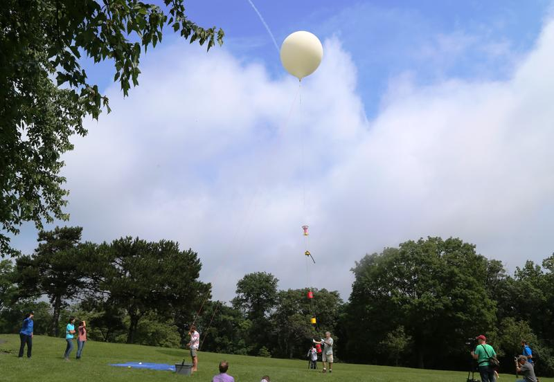A high-altitude balloon is launched from Riverview Park in Pittsburgh's Perry North neighborhood on Friday, July 14, 2017. The balloon will collect data on the Earth's atmosphere and livestream video during next month's solar eclipse.