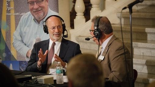 Governor Tom Wolf speaks with WITF radio at the state Capitol in Harrisburg.
