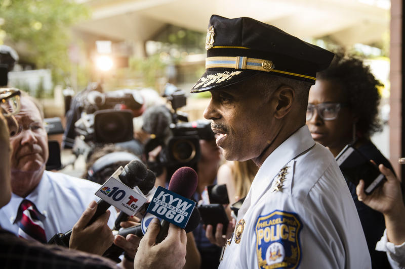 "Philadelphia Police Commissioner Richard Ross speaks July 21, 2017, after AG Jeff Sessions told a room full of federal prosecutors and law enforcement officials that cities like Philadelphia are ""giving sanctuary"" to criminals."