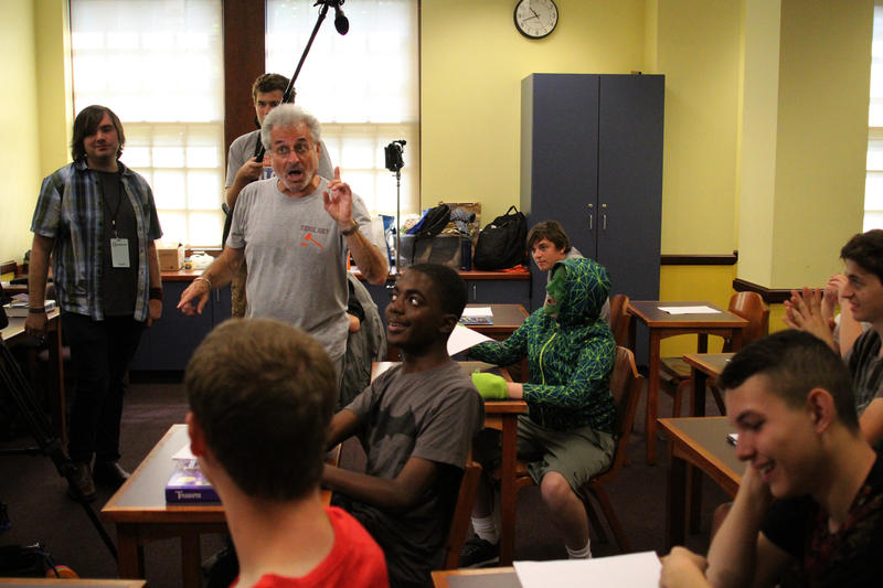 Barry Pearl, a volunteer with the Joey Travolta Film Camp, makes a joke on the set of the short film 'Dragon'.