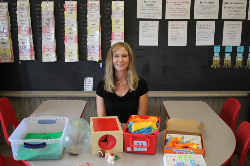 Gina Murphy, an autistic support teacher at Brookline Elementary School, sits behind some of the materials that have been paid for through crowdfunding.