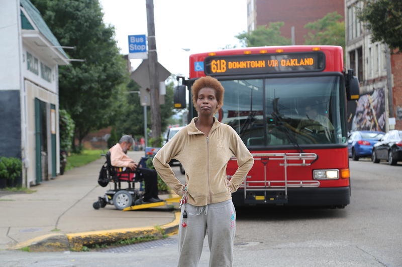 "Braddock resident Tawanda Cabiness said she depends on the bus to get groceries and travel downtown. ""This is my bus,"" she said."