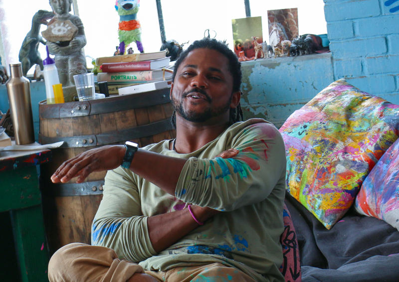 Artist Baron Batch at his Point Breeze studio on Wednesday, July 19, 2017.