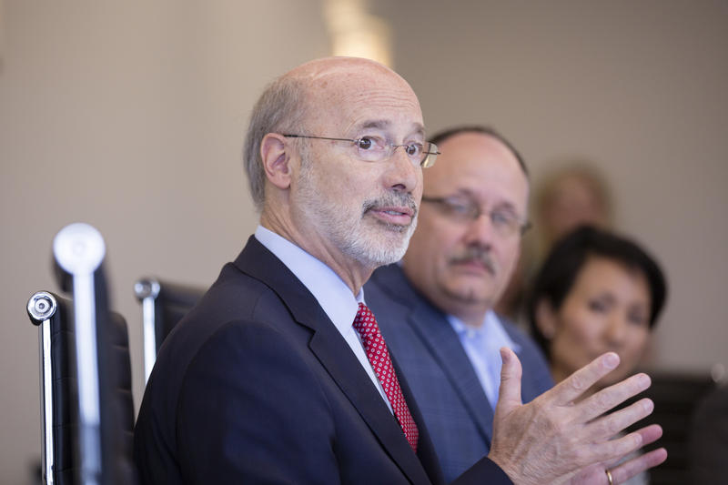 "Gov. Tom Wolf speaking during his ""Jobs That Pay"" tour at the World Trade Center in Harrisburg, Pa., on July 28, 2017."