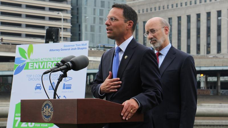 Pennsylvania Attorney General Josh Shapiro, left, and Gov. Tom Wolf announce the state has joined a lawsuit against the Environmental Protection Agency.