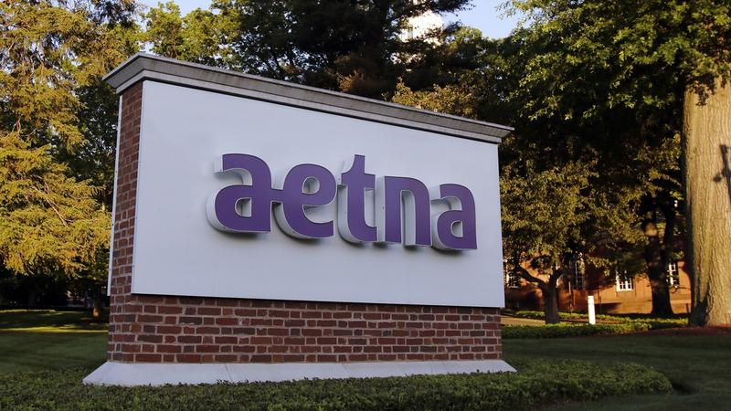 A sign stands on the campus of the Aetna headquarters in Hartford, Conn. on Thursday, June 1, 2017.
