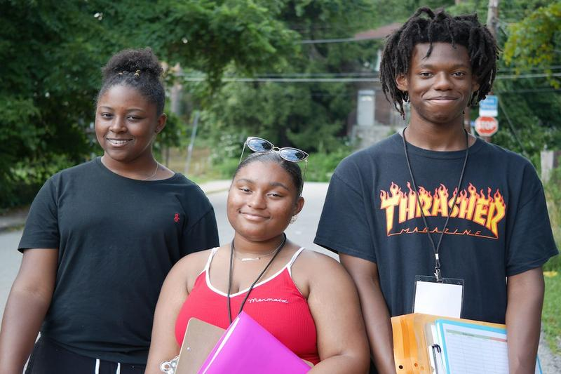 Mckayla Dixon, Anesa Reed, and Keith Jamison are employed by Youth Enrichment Services this summer to teach people in Pittsburgh's Lincoln-Lemington neighborhood about lead exposure.