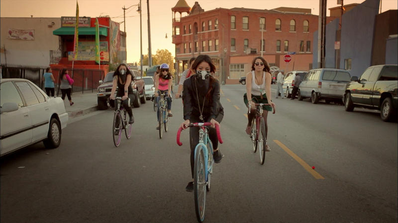 """Ovarian Psycos"" is a film about Latina women in east L.A. that started a bicycle brigade to fight gentrification. It's the first of 17 films being screened this weekend."